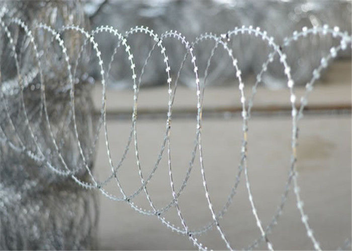 Hot Dip Galvanized BTO 10 Flat Razor Wire Stainless Steel On Protect Private Grounds