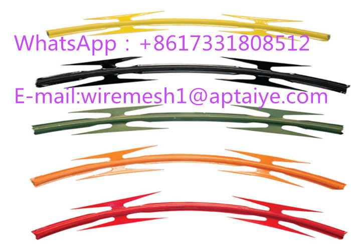 Professional Colored Barbed Tape PVC Razor Barbed Tape Top On Wall CBT -65