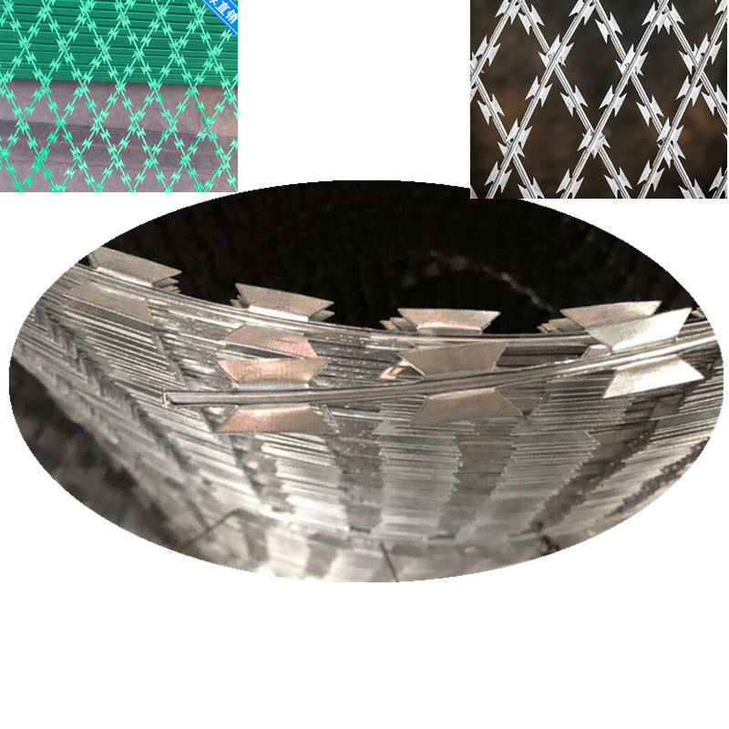 CBT65 CBT60 BTO22 Welded Razor Wire Mesh 75 * 150mm Diamond Hole
